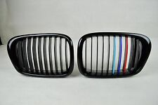 FRONT KIDNEY GRILLS GRILLE METAL LOOK ///M COLOR GLOSSY BLACK for BMW E39 SEDAN