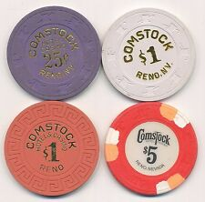 Comstock Hotel Reno $.25, $1, $1, and $5 Casino Chips