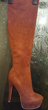 Ladies  Faux Suede Knee High Platform Boots BROWN 42
