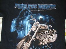 ENDLESS NIGHTS Sexy Topless Girl Motorcycle biker trucker lowrider T shirt M