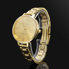 GOLD Stainless Steel Women's New Thin Band Quartz Analog Dress Wrist Watches