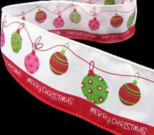 """5 Yd Christmas Hanging Ornaments Merry Christmas Wired Ribbon 2 1/2""""W"""