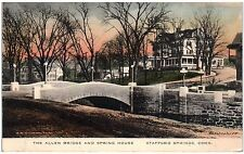 Postcard CT Stafford Springs The Allen Bridge And Spring House Hand-Colored A8
