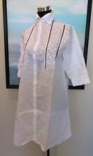 Schweitzer Linen New York Embroidered  Linen/Cotton Night Shirt S/M