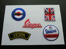 WHOLESALE SET OF FIVE SEW ON / IRON ON PATCHES:- VESPA SCOOTER RALLY SELECTION B