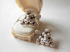 Vintage Sterling Silver Mexico Grape Cluster Screw On Earrings   151613