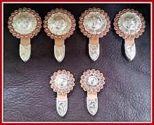 """Saddle Set   4 - 1 1/2"""" & 2 - 1"""" Hand Engraved Silver Conchos w/Rosettes & Tips"""
