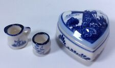Delft Blue Handpainted Holland Heart Shaped Dish Lid Mini Cup Pitcher Windmill