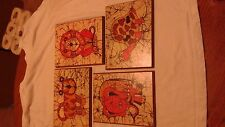 Children's animals wood wall pictures, LS Muldowny, 70's Vintage item, set of 4