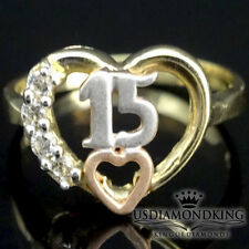 REAL 14K SOLID 3 TONE GOLD SWEET 15 ANOS BIRTHDAY QUINCEANERA HEART RING BAND S8