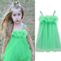 2-11Y Green Kids Girls Princess Flower Tutu Dress Party Formal Lace Dress Skirt
