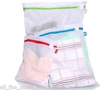 PACK THREE ZIPPED WHITE MESH LAUNDRY BAGS IN CLEAR PLASTIC ZIP LOCK TRAVEL BAG