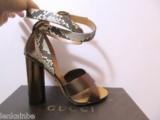 Gucci Runway Candy Metallic Python Ankle Wrap Sandals 36 6