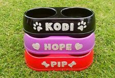personalised dog bowl,cat bowl, pet bowl,with hand attached crystals