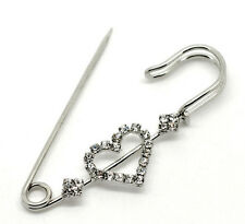 Silver Colour Diamante Heart Pin Brooch ideal for kilt, scarf or cardigan etc