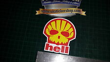 1x Hell (Shell) Petrol  full colour printed sticker decal, Funny, JDM VAG, Skull