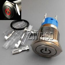 19mm 12V RED Led Lighted Push Button Metal ON-OFF Lock Switch + Connector O-ring