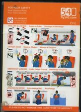 Fly540.com 540 CRJ safety card Oct 13 16-061 African Airline - used cond sc587ax