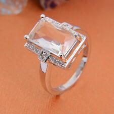 Large Plated 925 Silver Crystal Fashion Ring Sz.7-9 LF