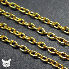 2m Gold Plated Chain 2 x 3mm Oval Cable Trace Link Jewellery Making Findings