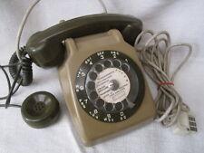 VINTAGE ! TELEPHONE ANCIEN MARRON à CADRAN ET ECOUTEUR DESIGN 70