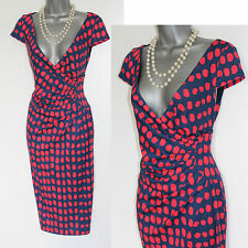 Phase Eight Navy Red Spot Print Cap Sleeve Stretchable Wrap Style Dress 8 EU 36