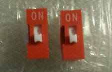 2 x PCs DIP Switches Jumpers Red 2.54mm Pitch 2 pins 1 Way Slide Type CHIP 210 A