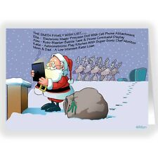 Santa Uses Tablet Computer Funny Christmas Card 18 cards & envelopes-20035
