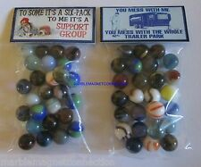 2 BAGS OF 6 PACK BEER TRAILER PARK SUPPORT GROUP ADVERTISING PROMO MARBLES