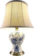 Gorgeous Round Med Floral and Birds Ceramic Cream / Blue Table Lamp With Shade