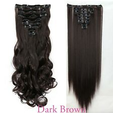 US Real Long 100% Natural Extensions Clip in HAIR EXTENTIONS Full Head Human TL2