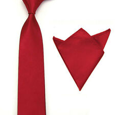 Mens Classic Satin Solid Color Tie Necktie Pocket Square Hanky Handkerchief Set
