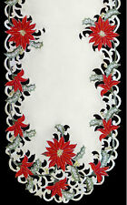 "Christmas Poinsettia Embroidered Oval Lace Table Runner 16""x72"""