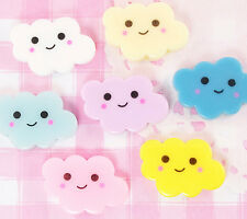 6 x Cute Kawaii Cloud Flatback Cabochon Embellishments Decoden Kawaii Crafts