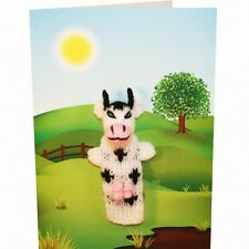 Cow Hand Knitted Puppet Greeting Card