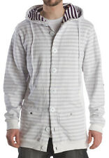 New Mens Nomis Lean Button Up Hoodie Large White Hoody