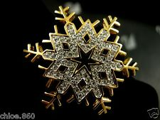 SIGNED SWAROVSKI  CRYSTAL SNOWFLAKE PIN ~ BROOCH RETIRED NEW