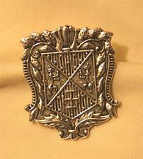 Handsome Etched Flute and Swirls Lion Crest Silvertone Shield Brooch Pin