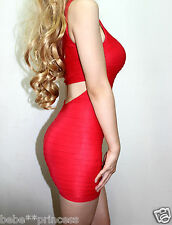 NWT bebe M / L Medium / Large red open back shine cutout bodycon top dress club