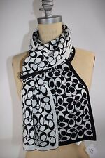 "NWT COACH Black Pale Gray Signature ""C"" Merino Wool Blend REVERSIBLE Knit Scarf"