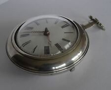 ANTIQUE ENGLISH SILVER VERGE FUSEE PAIR CASED POCKET WATCH, LONDON c1806