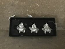 Heaven Sends Christmas glass silver glitter flying pig decorations box of 3