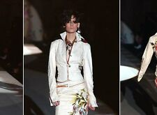 9K Auth ROBERTO CAVALLI COUTURE 2PC Cream SUIT Skirt&Jacket with LEATHER Inserts