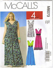Easy Womens High Waist Sleeveless Knit Dress Sewing Pattern Plus Sz 18 20 22 24