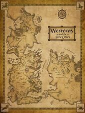 GIANT FRIDGE MAGNET - GAME OF THRONES - MAP OF WESTEROS AND FREE CITIES - GIFT