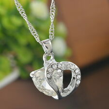 1PC White Crystal Pendant Chain Double Heart Necklace Love Valentines Gift