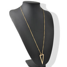 Gold Plated Triangle Charms Long Chain Necklace Ladies Womens Fashion Jewelry