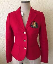 Raph Lauren 2P Petite NWT $295 Red Blazer Gold Anchor Crest Linen Jacket Lined