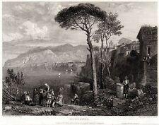 SORRENTO: Panorama 2. Golfo e Regno di Napoli. ACCIAIO. Stampa Antica. 1831