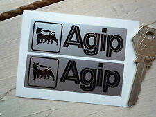 AGIP Black & Silver 75mm classic race car bike stickers